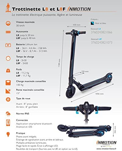 InMotion L8F Trottinette électrique Mixte Adulte, Noir, Unique