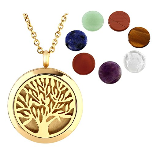 JOVIVI Hypoallergenic 316L Surgical Stainless Steel Hollow Aromatherapy Essential Oil Diffuser Charm Necklace Locket Pendant with 7 Chakra Round Healing Crystals