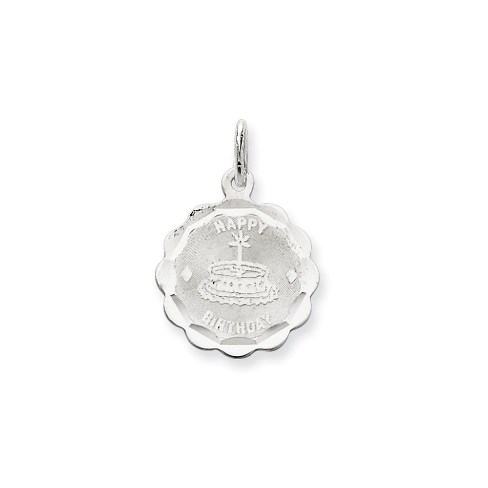0.87 in x 0.59 in Sterling Silver Happy Birthday Disc Charm Pendant
