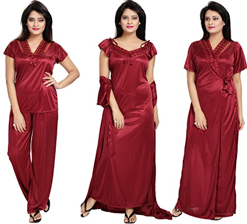 browse latest collections exquisite craftsmanship online store Notytm Women's Satin Nighty, Robe, Top, Night Dress - Set of 4(DN 43,  Maroon, Free Size)