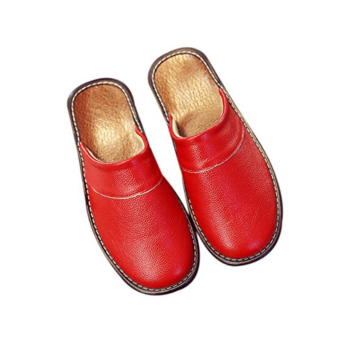 W Cowhide Floor Smelly Leather Rouge Slippers Wooden Summer TELLW Women Corium for Autumn Spring Anti Men wIq0a6gz