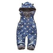 Kidscool Baby & Little Boys/girls Light Blue Cardigan Denim Hooded Overalls