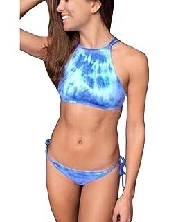 408fcb9b57 Amazon.com: Lukitty Women's High Neck Halter Bikini Sets Bathing ...