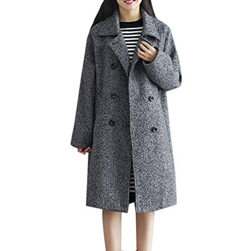 WanYang Mujer Chaqueta Larga de Elegante Abrigo Cuello de Doble Botones Jacket Coat Lana Capa Outwear Dray