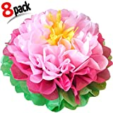"Arts & Crafts : Birthday Party Decorations Paper Flowers ! Pack of 8 PC Giant 16"" 13"" Flower Pom Poms for Baby Shower. Mix Pink Beautiful Blooming Flowers. Great For Nursery Wall Backdrop Decor And Wedding !"