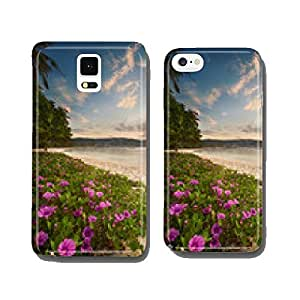 Beautiful beach with colorful flowers and boat cell phone cover case Samsung S6