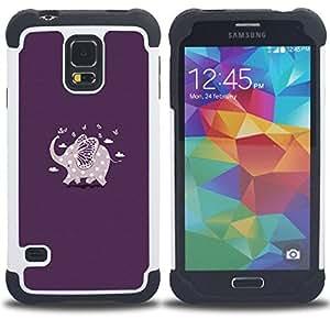 - purple elephant polka dot pattern/ H??brido 3in1 Deluxe Impreso duro Soft Alto Impacto caja de la armadura Defender - SHIMIN CAO - For Samsung Galaxy S5 I9600 G9009 G9008V