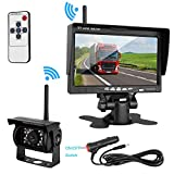 ZSMJ Wireless Backup camera Rear view Camera System 7'' Display TFT Monitor Wireless Distance over 82 ft IP68 waterproof Night Vision for /Truck /Pickup /Van /Caravan /Trailers /Camper