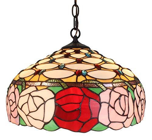 (Amora Lighting Tiffany Style AM034HL16 Roses Hanging Lamp Wide 16 in)