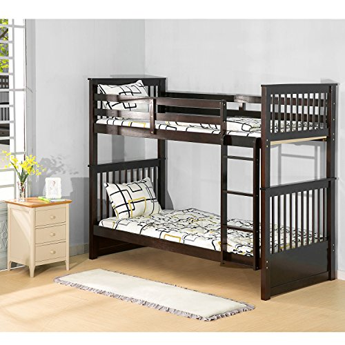 Harper & Bright Designs Twin over Twin Bunk Bed Kid's Bunk Bed with Ladder Hardwood Bed (Esp ...