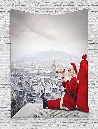 Claus Tapestry - asddcdfdd Christmas Tapestry, Santa Claus Sitting on Roof Top Looking Through Binoculars Cloudy Cityscape, Wall Hanging for Bedroom Living Room Dorm, 60 W X 80 L Inches, Red Light Grey