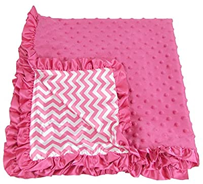 Chevron Print Hot Pink Minky Blanket for Baby by Discount Manufacturing