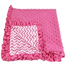 Girls Hot Pink Chevron Print Minky Baby Soft Blanket Receiving Size