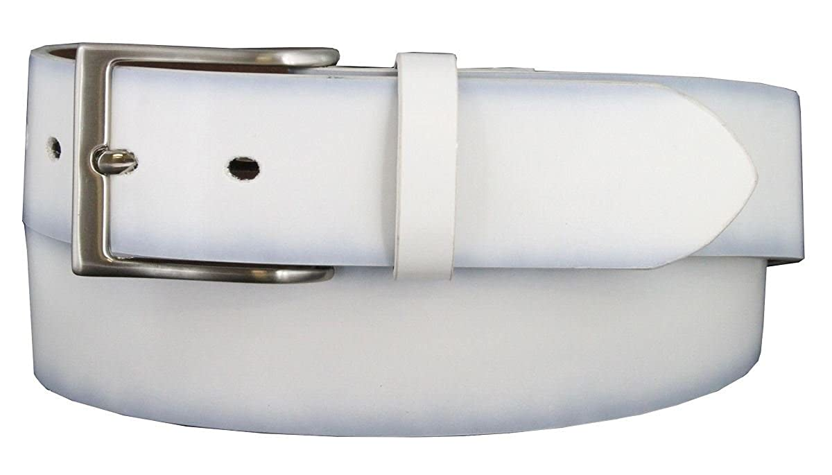 WHITE Color Mens Snap On Plain Belt 1-1//2 Wide Size 40