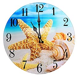 Shell Glass Wall Clock New 13X 13 Home Wall Decor Coastal Nautical Beach