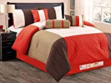 7-Pc Patchwork Quatrefoil Trellis Pleated Striped Comforter Set Queen Orange Brown Tan Beige