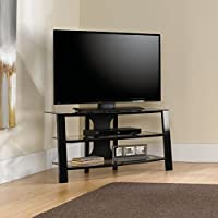Sauder 412067 Mirage Panel TV Stand, Black/Clear Glass