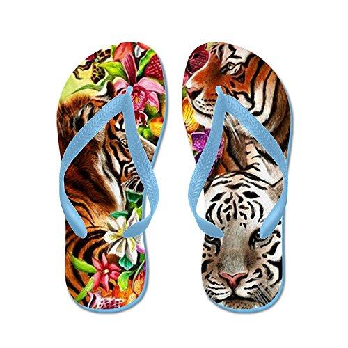 Cafepress Tigres Et Fleurs, Belle Jungle Ar - Tongs, Sandales String Drôle, Sandales De Plage Bleu Caraïbes
