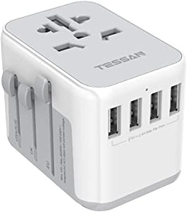 Universal Travel Adapter, TESSAN International Power Adaptor with 4 USB Outlets - Worldwide All in One Wall Charger for China USA Europe EU UK Thailand Japan Australia (Type G/C/A/I)