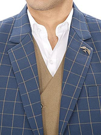 22cd84ef950 Amador fashions Blue Check Suit (3 pc)  Amazon.in  Clothing   Accessories