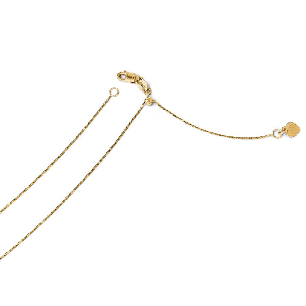 Solid 14k Yellow Gold Adjustable .50mm Baby Box Chain Necklace 22'' - with Secure Lobster Lock Clasp