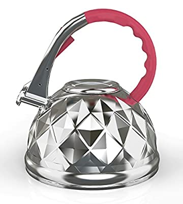 Whistling Tea Kettle With Lightweight Stainless Steel Frame & Heat Resistant Red Handle - 3.2 Liters