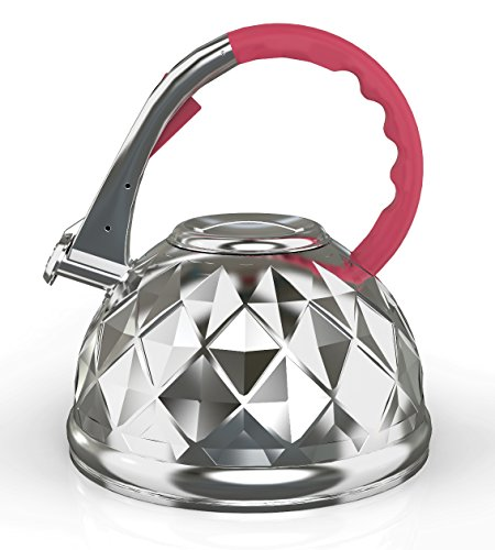 Whistling Tea Kettle By ZestyNest Boils Water Faster, Keeps It Warm Longer, High-End Stainless Steel Construction For Supreme Durability, Heat Resistant Handle - Incredibly Lightweight (3.2 Liters)