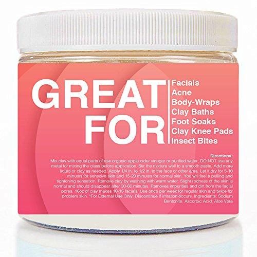 Vivi Clay Indian Healing Face Mask - 16 Oz, 100% Pure Sodium Bentonite Indian Healing Clay Powder - Therapeutic Grade - Face Skin Care, Deep Skin Pore Cleansing, Detoxifying, Repair Formula