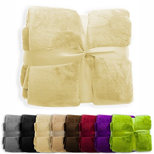 Soft Cozy Throws - casa pura Fleece Throw Blanket   Plush Blanket Throw for Couch or Queen Size Bed   Super Soft & Cozy Fur Blankets   Various Sizes and Colors   Beige - 86