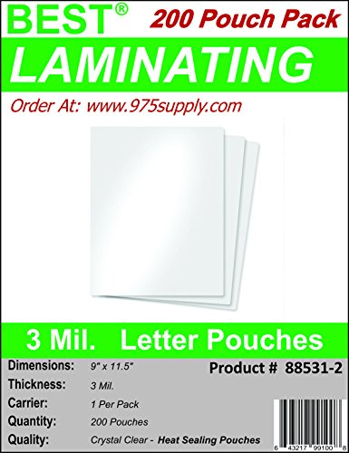 3 Mil Mini (Best Laminating - 3 Mil Clear Letter Size Thermal Laminating Pouches - 9 X 11.5 (200 Pouches))