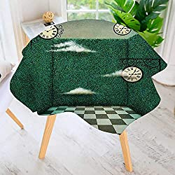 aolankaili Round Tablecloth-Green Fairy Tale Walls of Grass and Clocks Wonderland Theme Print Waterproof Wine Tablecloth Wedding Party Restaurant 63 Round