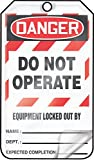 Accuform MLT409LTP HS-Laminate Lockout Tag, Legend''DANGER DO NOT OPERATE EQUIPMENT LOCKED OUT BY:'', 5.75'' Length x 3.25'' Width x 0.024'' Thickness, Red/Black on White (Pack of 25)