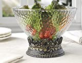 Elegant Home Centerpiece Serving Hammered Glass Bowl on Iron Stand