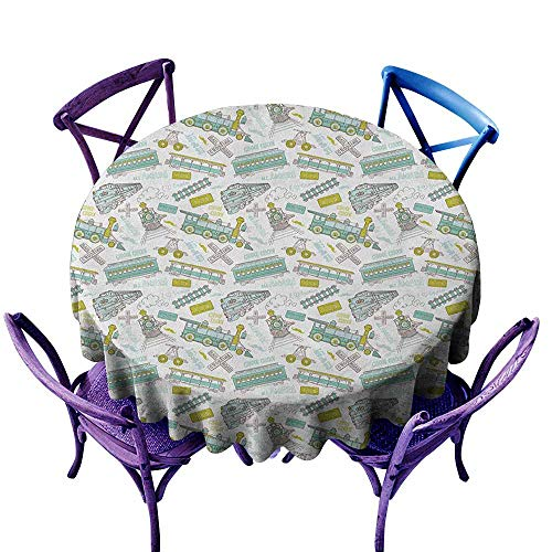 ONECUTE Round Tablecloth,Steam Engine Choo Choo Train Kids Boy Pattern Blue Green Number Plate Vintage,High-end Durable Creative Home,35 INCH Apple Green Turquoise