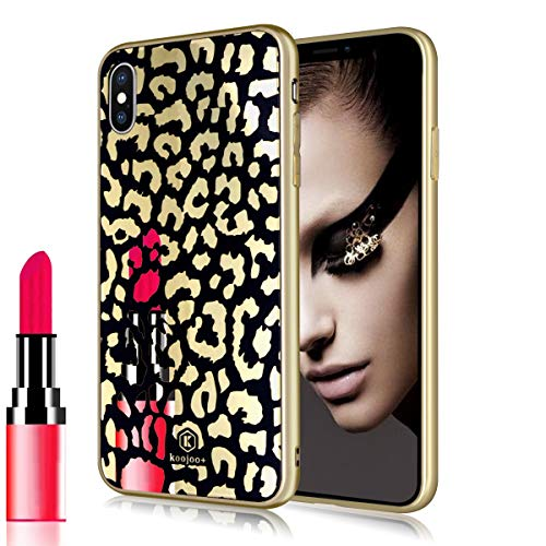(Losin Leopard Case Compatible with Apple iPhone XR Fashion Luxury Sparkling Gold Electroplate Chromed Mirror Effect Lovely Cute Leopard Cheetah Pattern Soft TPU Case)