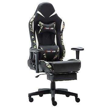 Storm Racer ergonómico Gaming Chair Silla de Respaldo Alto Silla de Oficina con reposapiés Ajuste reposacabezas y Apoyo Lumbar Silla de Racing (White,New): ...