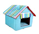 Cheap WowowMeow Pet Foldable Stripe Cat Dog House Bed Cozy Plush Pet Cave Bed for Puppies, Cats and Small Animals (XS, Blue)
