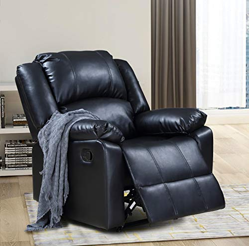 - Thick Padded Recliner Chair PU Leather Living Room Chair Single Seat Lounge Sofa Reclining (Black)