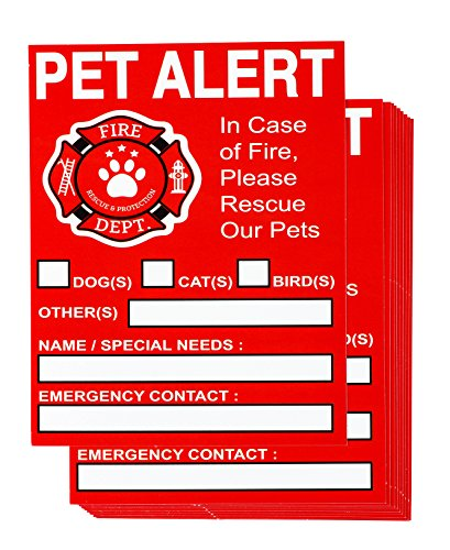 Juvale Pet Rescue Stickers - 10-Pack Pet Emergency Stickers, in Case of Fire Alerts, Pet Inside Finder Window Decal, 5 x 4 Inches