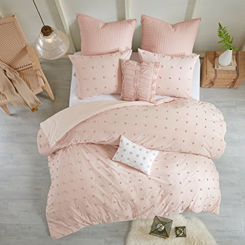 Urban Habitat Brooklyn Comforter Set Full/Queen Size - Pink , Tufted Cotton Chenille Dots – 7 Piece Bed Sets – 100% Cotton Jacquard Teen Bedding For Girls Bedroom (Bedding Dot Pink)