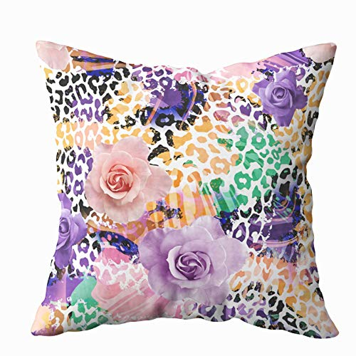 - Musesh Sofa Zip Pillow Covers, Leopard and Flowers Textile Pattern Fills Covers Surface Print Gift Wrap Scrapbooking Wallpaper for Sofa Home Decorative Pillowcase 20X20Inch Pillow Covers