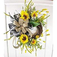 Farmhouse Burlap Wreath | Sunflowers | Summer