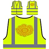 Bitcoin Coin Style Personalized Hi Visibility Yellow Safety Jacket Vest Waistcoat p286v