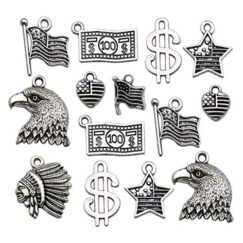 (Youdiyla 78 USA Charm Collection, Antique Silver Tone, America Theme Flag Dollar Eagle Indian Charms Pendant Metal Craft Supplies Findings for Necklace and Bracelet Jewelry Making (HM261))