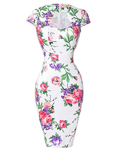 GRACE KARIN Flower Printed Cotton Dress Knee-Length 50s Vintage Dress White(S)
