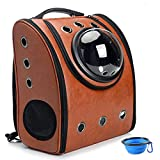 Aukor Space Capsule Bubble Backpack, Pet Carriers with Soft-Sided Pad for Dogs and Cats, Ventilated Cat Carrier Airline-Approved for Travel, Hiking, Walking, Outdoor Use, Brown Review