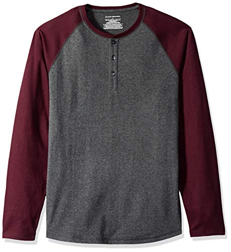 Amazon Essentials Men's Regular-Fit Long-Sleeve Henley Shirt, Charcoal Heather/Burgundy, X-Large (Big & Tall Long Sleeve Polo Shirts)