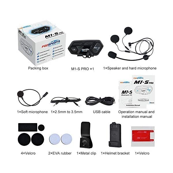 Fodsports M1-S PLUS Motorcycle Bluetooth Intercom Type-C Port USB Charger