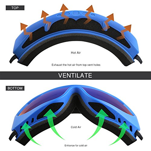 ALKAI Alta Ski Goggles, Snowboard Goggles – Anti Fog, 100% UV Protection, Double Layer Spherical Lenses, Helmet Compatible Medium Fit Snow Goggles for Men & Women