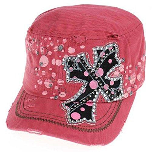 Distressed Polka Dot Rhinestone Cross Cap Hat (Nantucket)